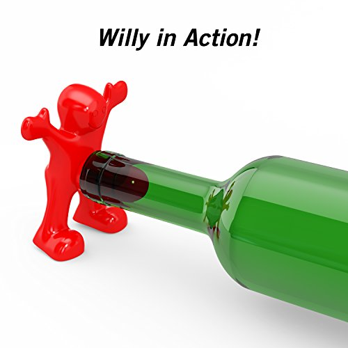 Willy the Wine Lover Wine Bottle Stopper stuck in bottle